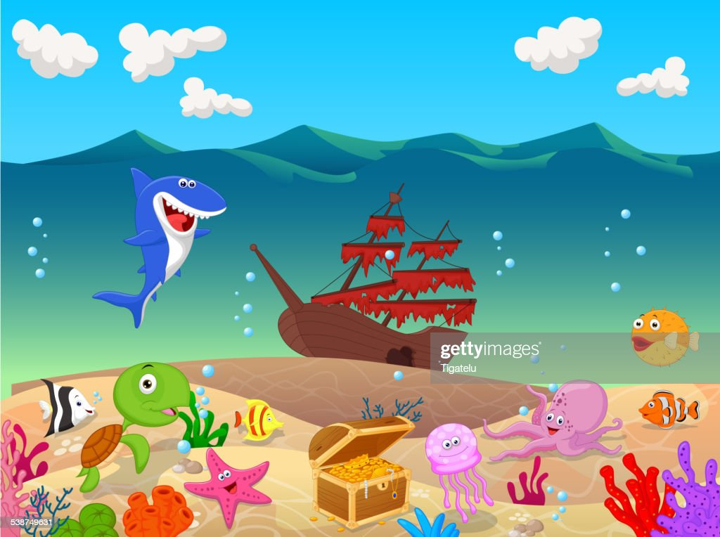 Underwater cartoon background with old ship