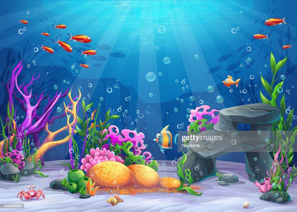 Underwater cartoon illustration
