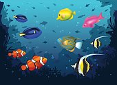 underwater deep sea background with tropical fishes