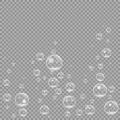 Underwater fizzing air bubbles isolated on transparent background. Air water clear bubble in water, sea, aquarium, ocean. vector illustration