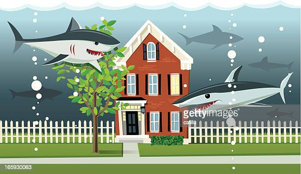 underwater home mortgage - subprime loan crisis stock illustrations