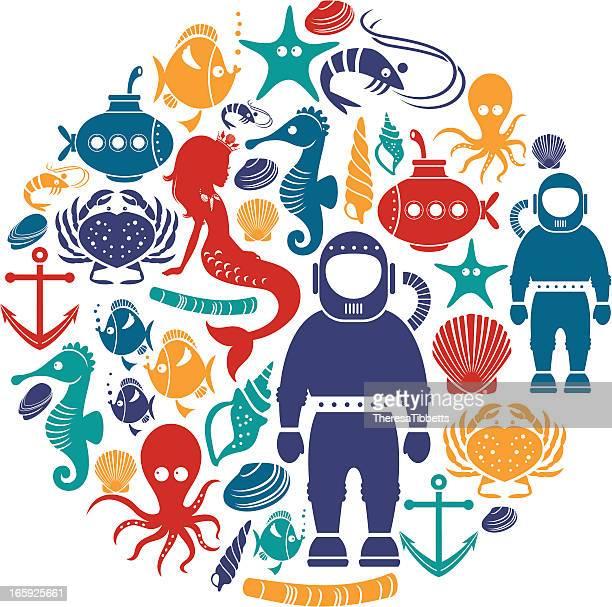 ilustrações, clipart, desenhos animados e ícones de debaixo d'água ícone set - organismo aquático