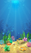 Underwater landscape. The ocean and the undersea world ,Mobile format