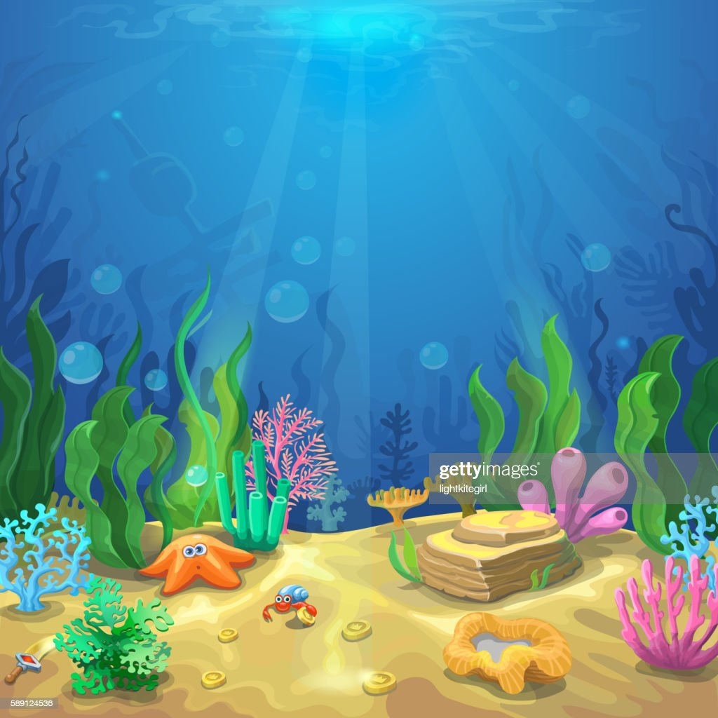 Underwater landscape. The undersea world with different inhabitants