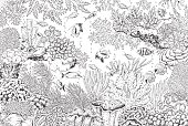 Underwater Landscape with Corals and Fishes