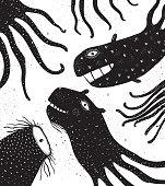 Underwater Monsters Creatures with Tentacles