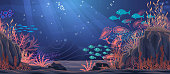 Underwater nature background. Vector Illustration