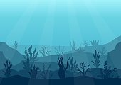 Underwater ocean scene. Deep blue water, coral reef and underwater plants. Marine sea bottom silhouette with seaweed, algae and coral. Vector illustration background