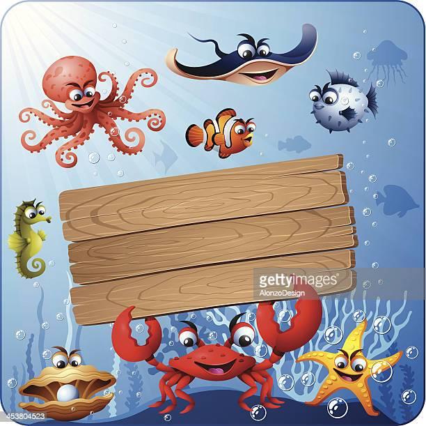 ilustraciones, imágenes clip art, dibujos animados e iconos de stock de escena debajo del agua y letrero de madera - vida marítima