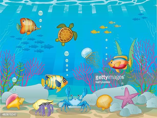 underwater scene - butterflyfish stock illustrations, clip art, cartoons, & icons