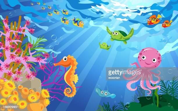 Underwater Scene with Sea Life