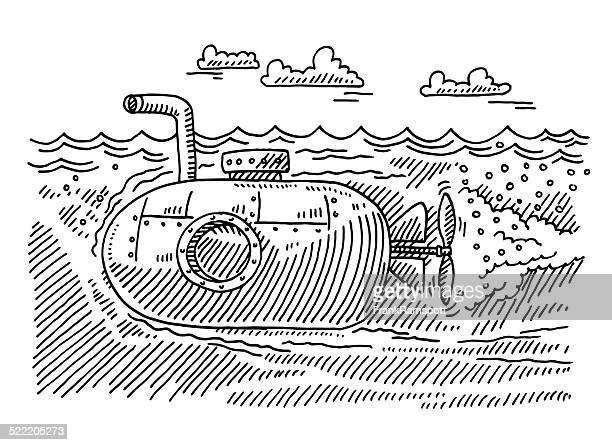Underwater Submarine Boat Drawing