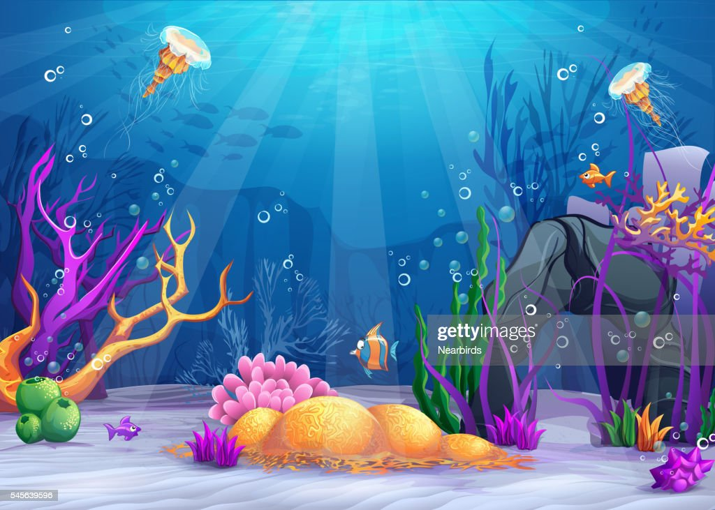 Underwater world cartoon illustration