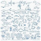 Underwater world hand drawn doodle set