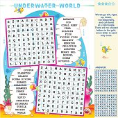 Underwater world wordsearch puzzle