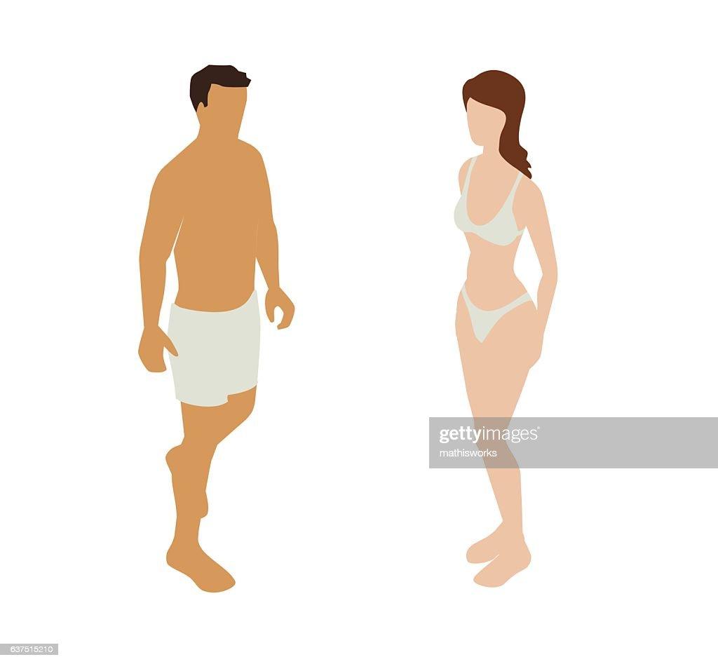 Underwear Couple Spot Illustration : Vector Art