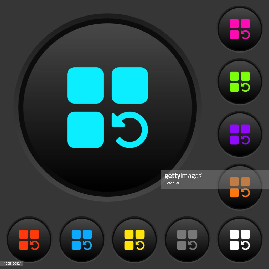 Undo component operation dark push buttons with color icons