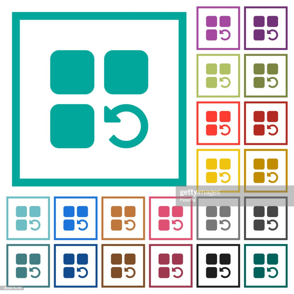 Undo component operation flat color icons with quadrant frames