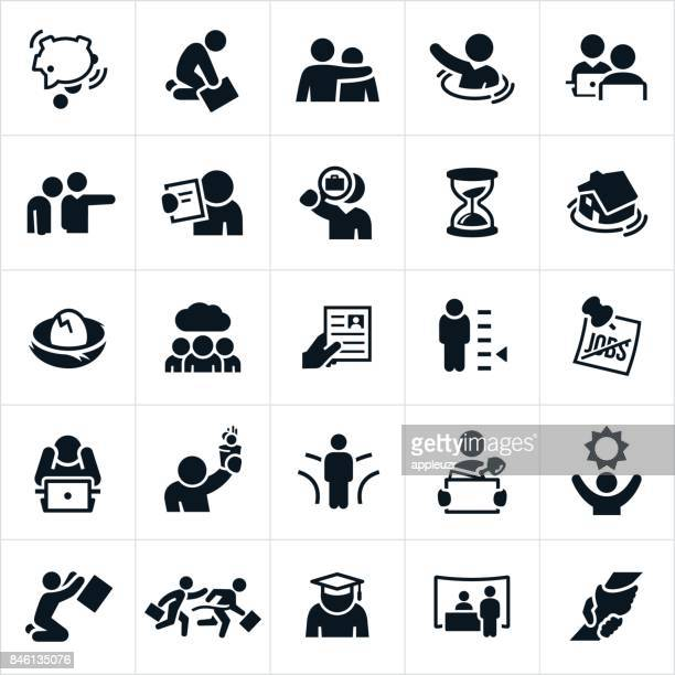 unemployment icons - job interview stock illustrations, clip art, cartoons, & icons