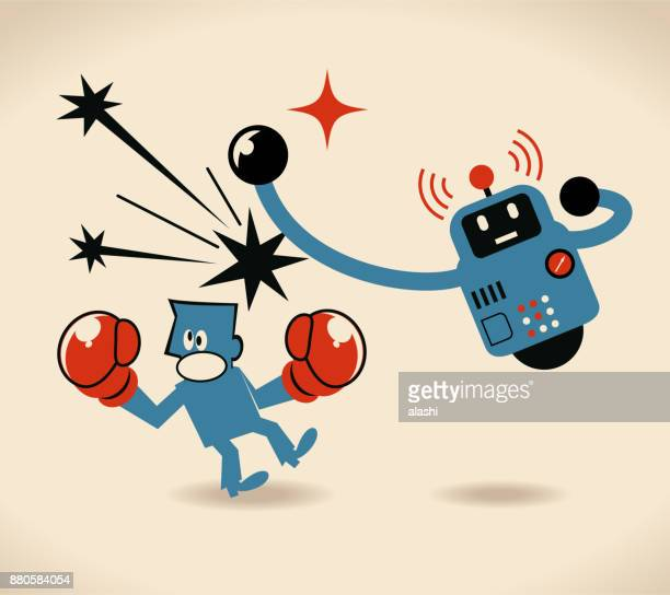 ai unemployment: job at risk of automation. defeated businessman boxer being hit by a robot - knockout stock illustrations