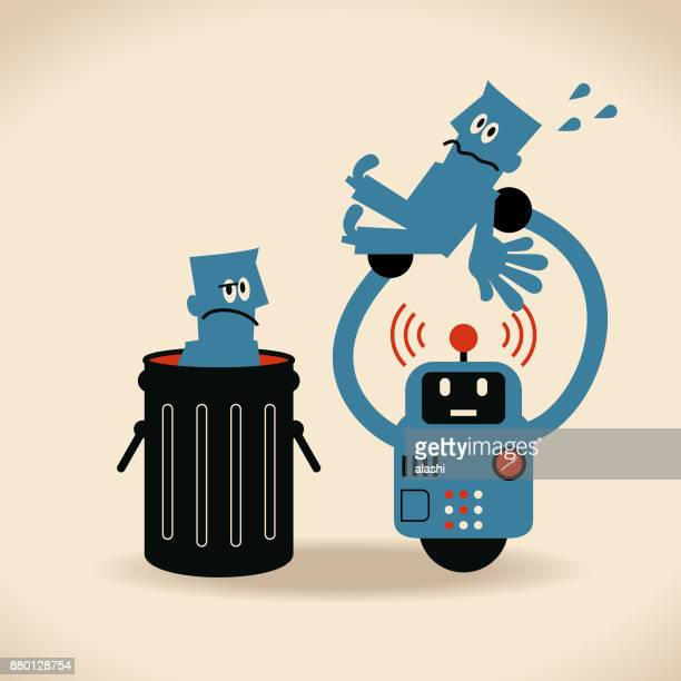 ilustraciones, imágenes clip art, dibujos animados e iconos de stock de desempleo de ai: trabajo con riesgo de automatización - tirar basura