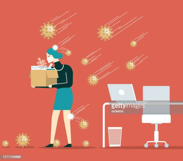 unemployment, jobless from covid-19 - businesswoman - disappointment stock illustrations