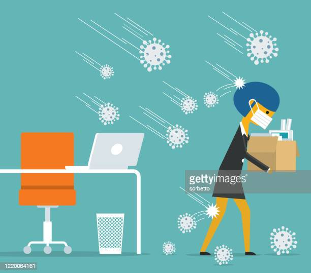 unemployment, jobless from covid-19 - businesswoman - unemployment stock illustrations