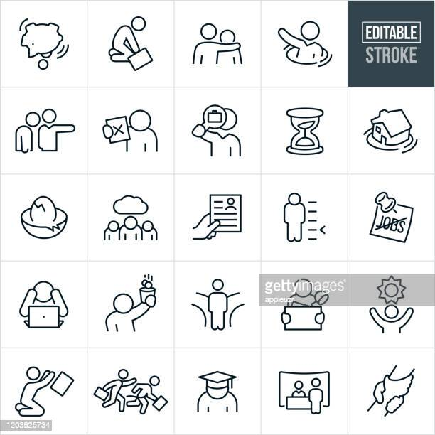 unemployment thin line icons - editable stroke - sadness stock illustrations