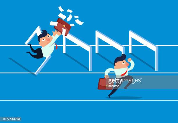 unfair competition - hurdle stock illustrations