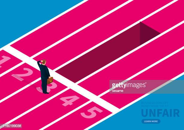 unfair treatment of the businessman, the front of the runway of the businessman is a big pit - forward athlete stock illustrations