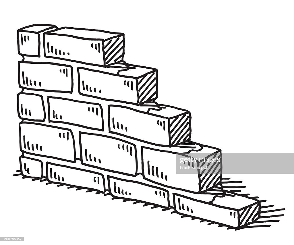 Unfinished Brick Wall Drawing Vector Art
