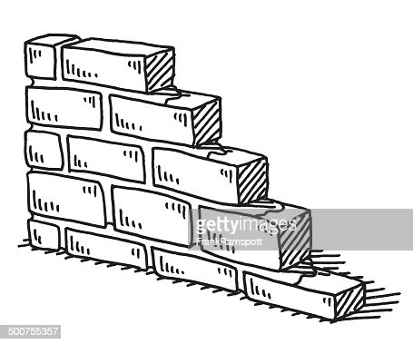 Unfinished Brick Wall Drawing Vector Art | Getty Images