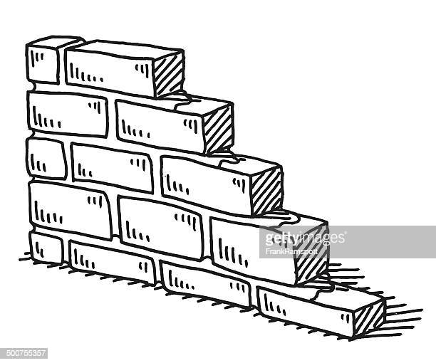 unfinished brick wall drawing - brick stock illustrations