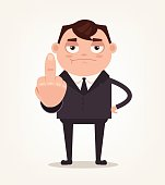 Unhappy angry boss office worker employee man showing middle finger and show disrespect