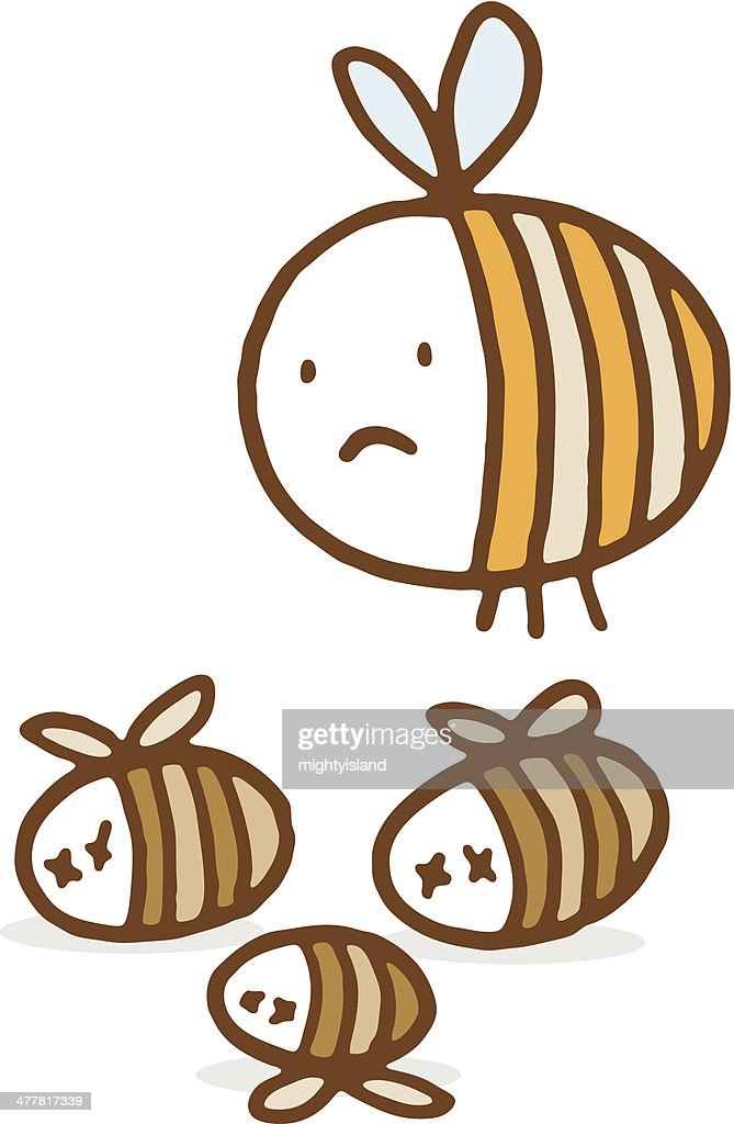 Unhappy bee with dead friends : stock illustration
