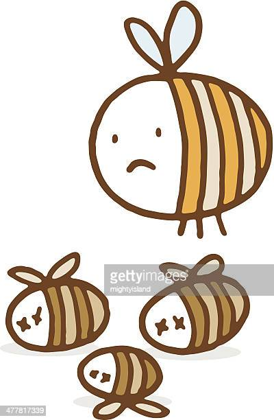 unhappy bee with dead friends - bumblebee stock illustrations, clip art, cartoons, & icons