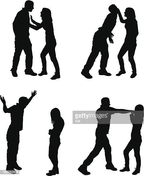 unhappy couple arguing and fighting - slapping stock illustrations, clip art, cartoons, & icons