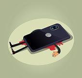 Unhappy dead man user character laying under big smart phone. Modern technology gadget device bad habit dependance burden slavery flat cartoon illustration graphic design concept