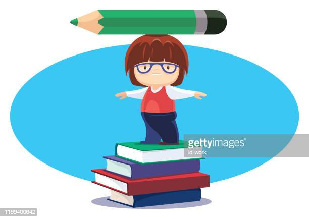 unhappy kid with big pencil and stack of books - heading the ball stock illustrations