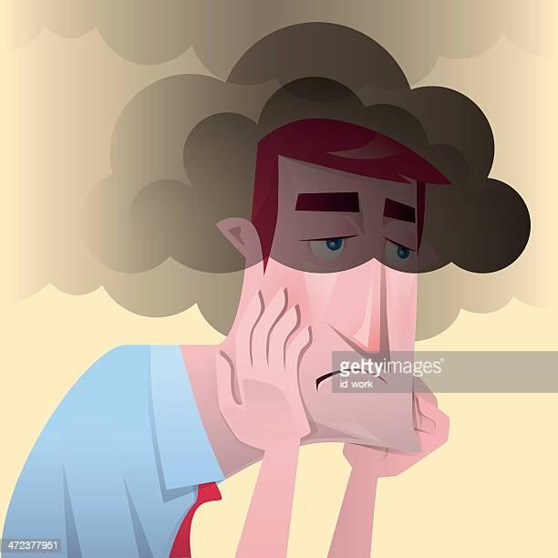 ilustraciones, imágenes clip art, dibujos animados e iconos de stock de hombre infeliz - dolordemuelas