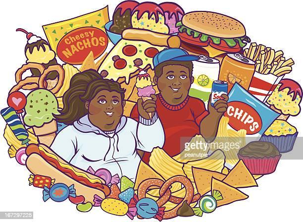 Unhealthy Eating Children Black