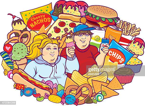 unhealthy eating children white - unhealthy eating stock illustrations