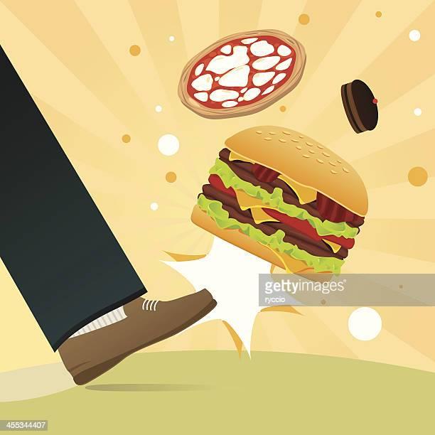 不健康な食事キック - 犠牲プレイ点のイラスト素材/クリップアート素材/マンガ素材/アイコン素材