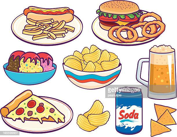 unhealthy lunches - nachos stock illustrations