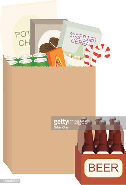 不健康なショッピング - 布の袋点のイラスト素材/クリップアート素材/マンガ素材/アイコン素材