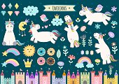 Unicorn and fairytale isolated elements for your design