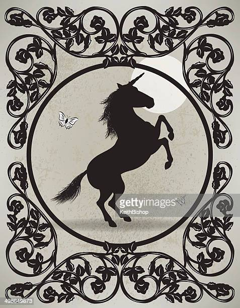 unicorn and victorian scroll - paddock stock illustrations, clip art, cartoons, & icons
