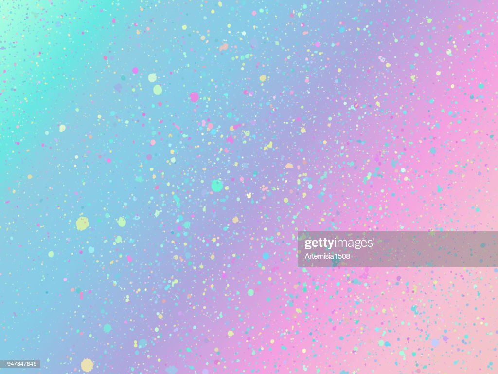 Unicorn background with rainbow mesh. Holographic unicorn background with magic sparkles. Vector illustration for poster, brochure, invitation, cover book, catalog.