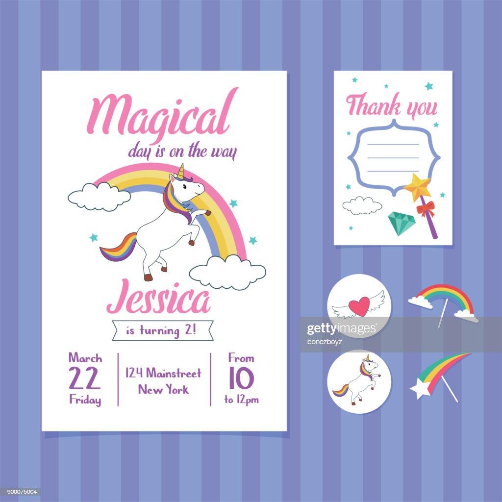 Unicorn Birthday Invitation Card Template with Unicorn and Rainbow Illustration