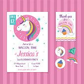 Unicorn Birthday Invitation Card Template with Unicorn Head Illustration